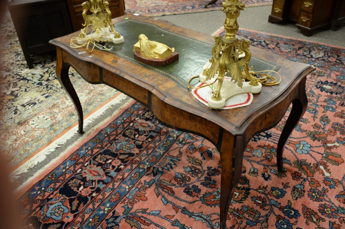 Louis XV style writing table having shaped top with - 6