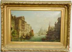 19th Century Venetian Canal Scene  oil on canvas