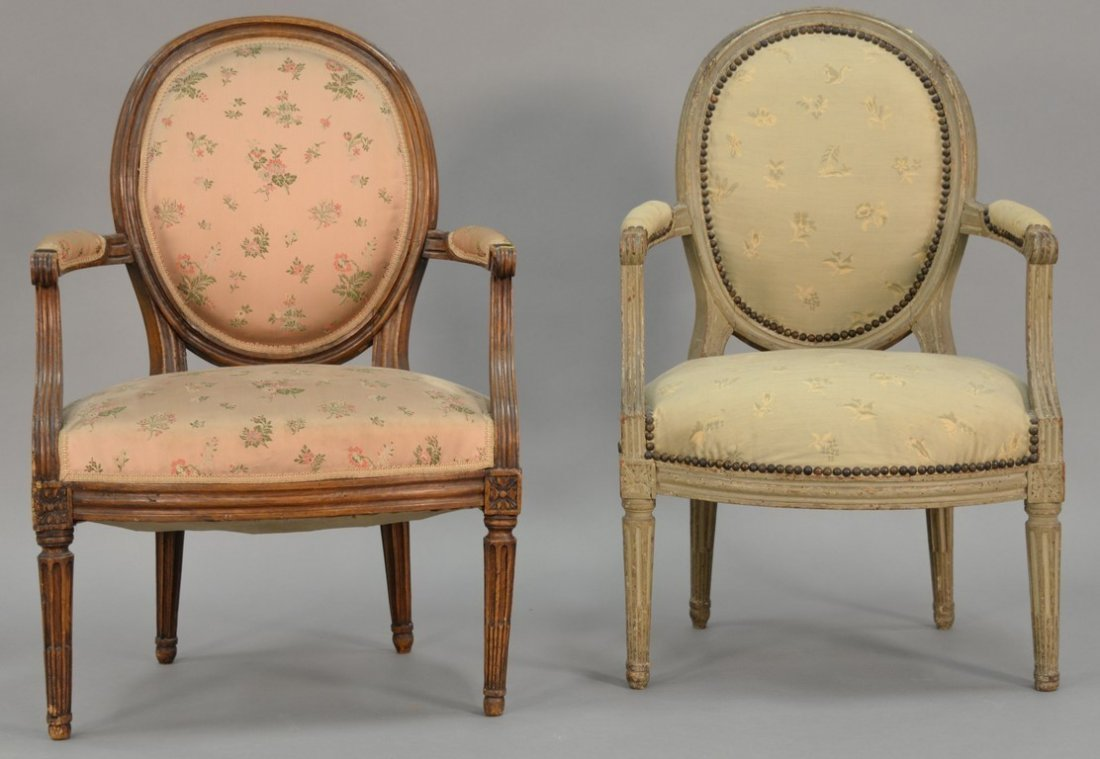 Two Louis XVI fautoil, one grey painted, 18th-19th