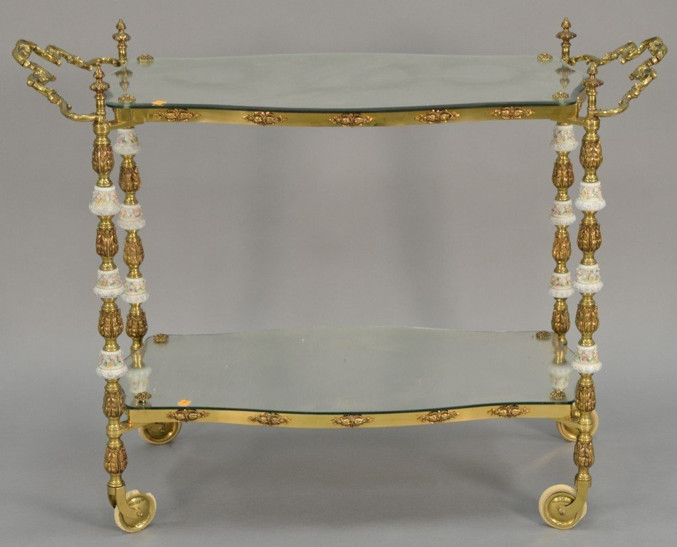 Brass tea cart, two shelf with mirror tops and