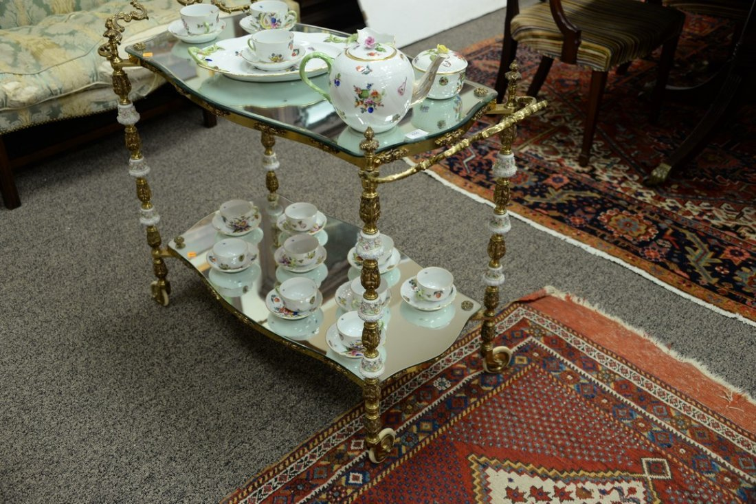 Brass tea cart, two shelf with mirror tops and - 2