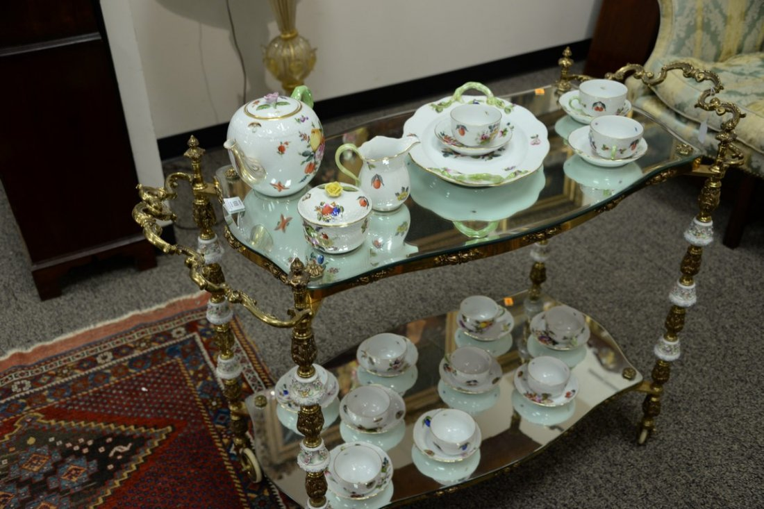 Brass tea cart, two shelf with mirror tops and - 3