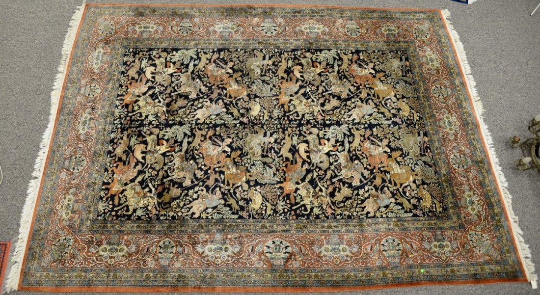 Persian Tabriz silk animal carpet, late 20th century.