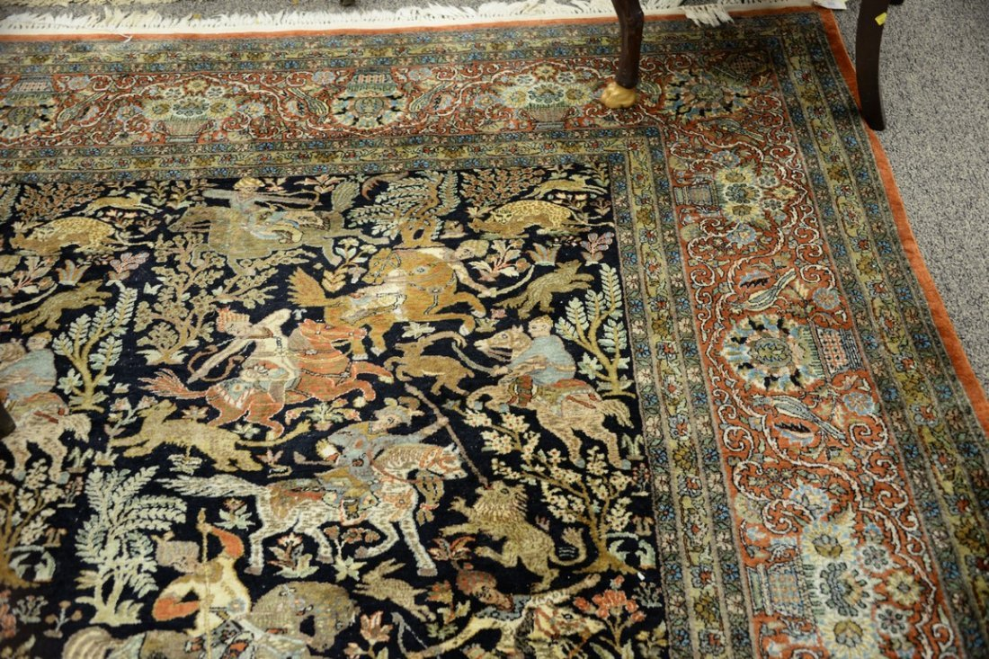 Persian Tabriz silk animal carpet, late 20th century. - 2