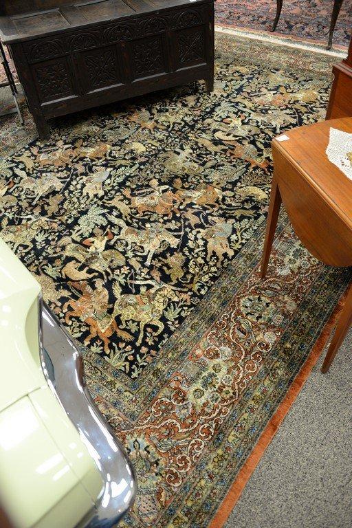 Persian Tabriz silk animal carpet, late 20th century. - 6