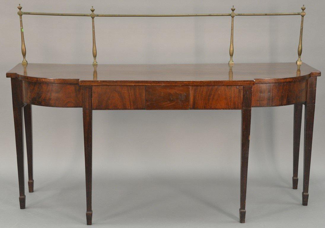 George III mahogany sideboard having brass gallery on