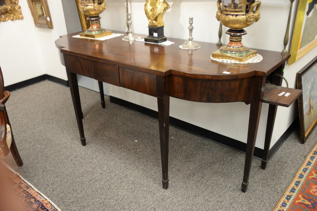 George III mahogany sideboard having brass gallery on - 2