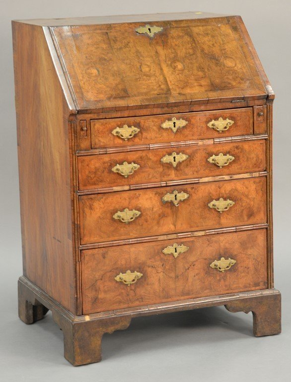 Chippendale burlwood diminutive slant lid desk.  ht. 38