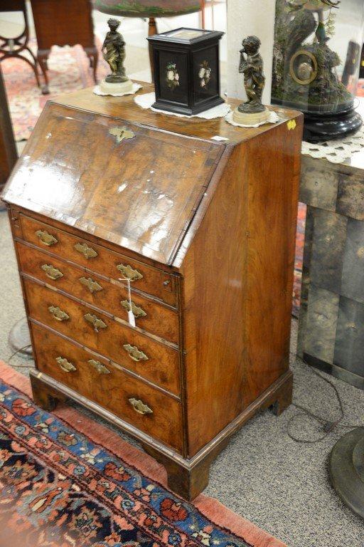 Chippendale burlwood diminutive slant lid desk.  ht. 38 - 2