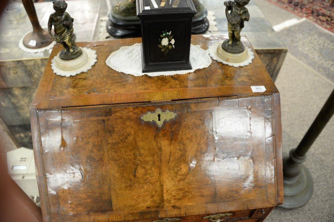 Chippendale burlwood diminutive slant lid desk.  ht. 38 - 3