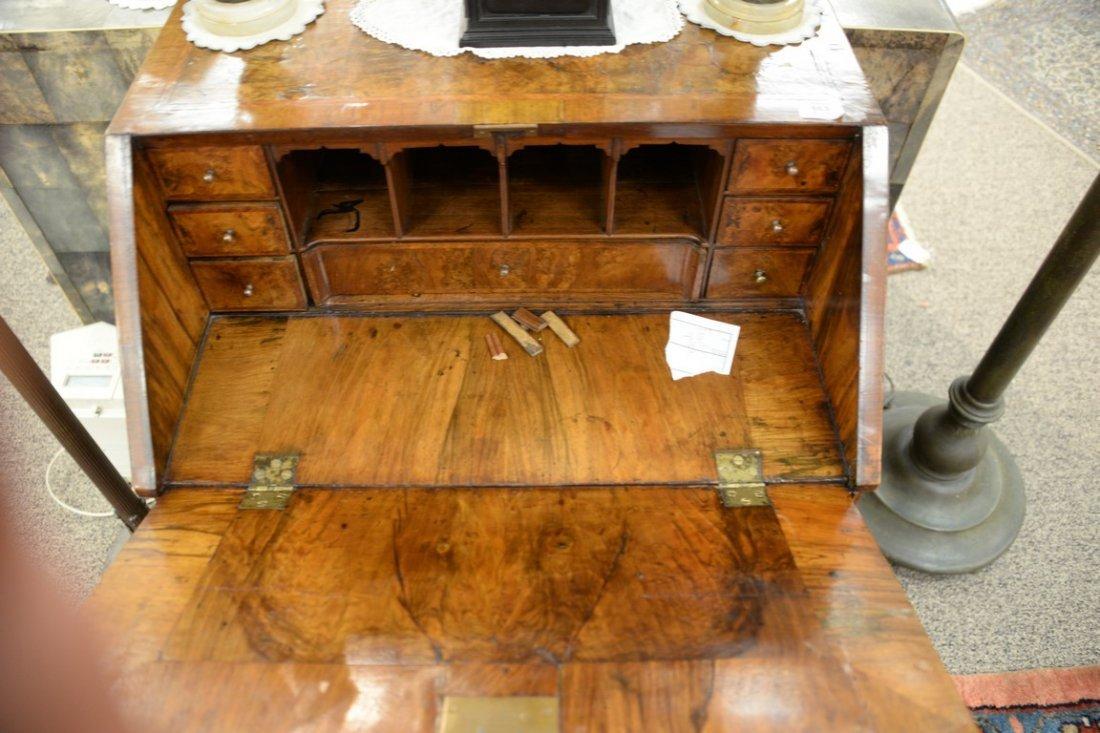Chippendale burlwood diminutive slant lid desk.  ht. 38 - 4