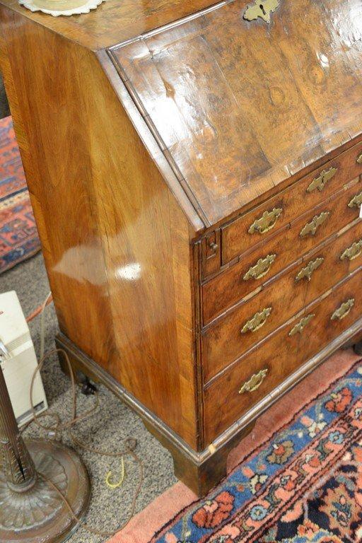 Chippendale burlwood diminutive slant lid desk.  ht. 38 - 5