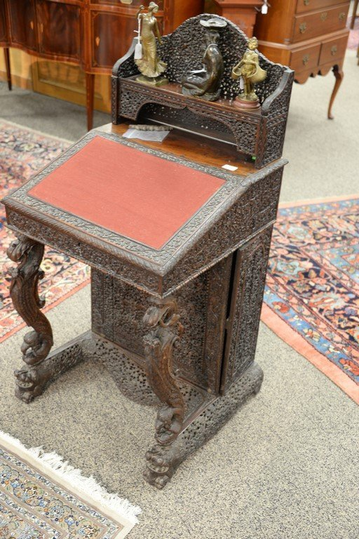 Teak pierced carved Davenport desk having slant lid and - 2