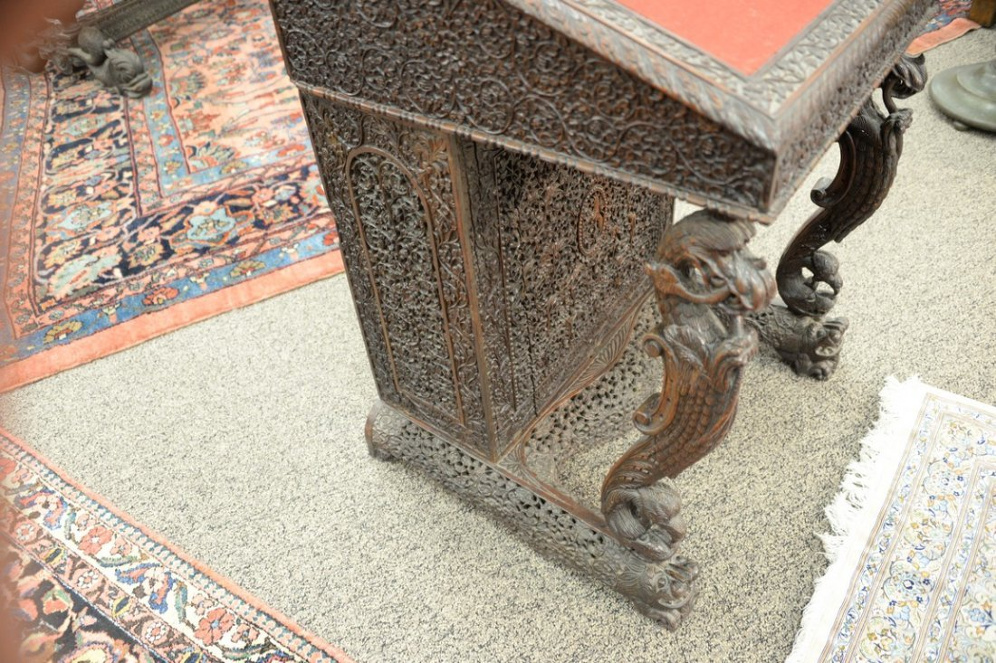 Teak pierced carved Davenport desk having slant lid and - 6