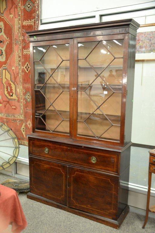 George III mahogany three part bookcase cabinet having - 2