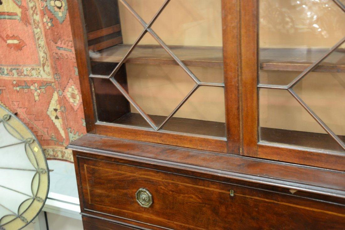 George III mahogany three part bookcase cabinet having - 4