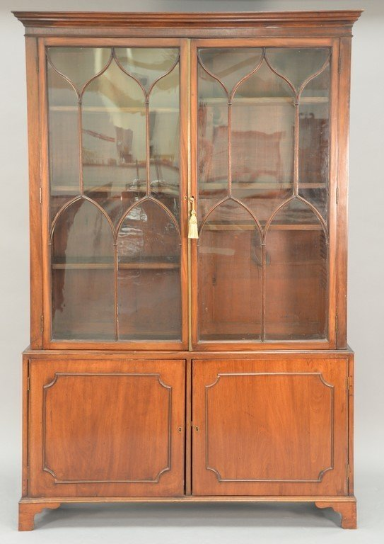 George III mahogany breakfront in two parts, upper