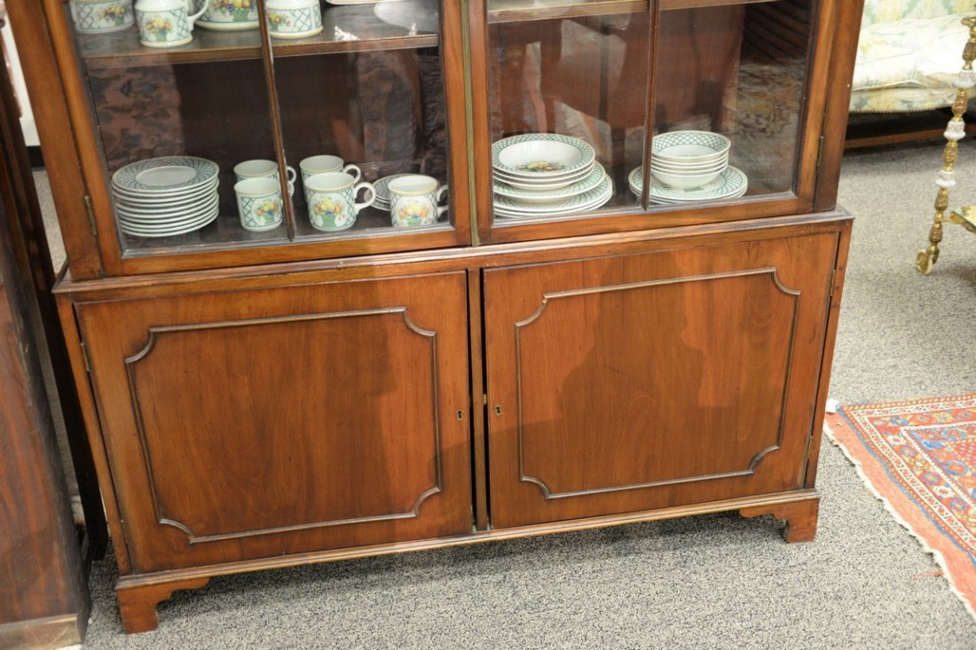 George III mahogany breakfront in two parts, upper - 3