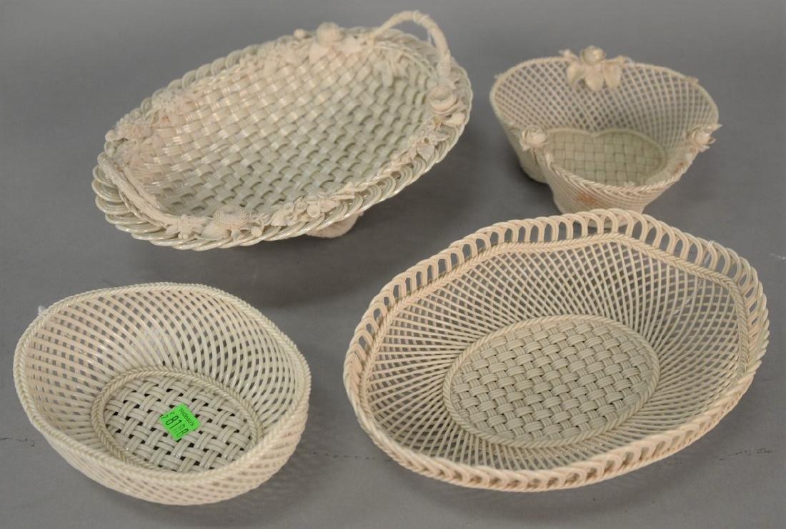 Four Belleek baskets, three Belleek strand baskets