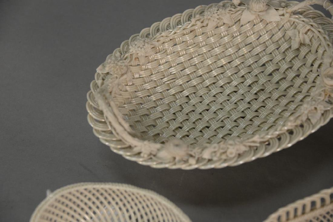 Four Belleek baskets, three Belleek strand baskets - 3