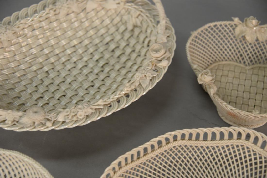 Four Belleek baskets, three Belleek strand baskets - 4