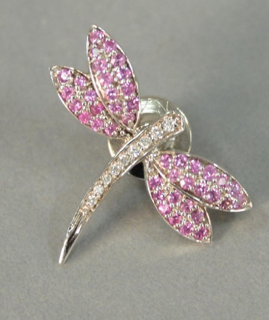 Dragonfly 14K white gold pin set with diamonds and pink
