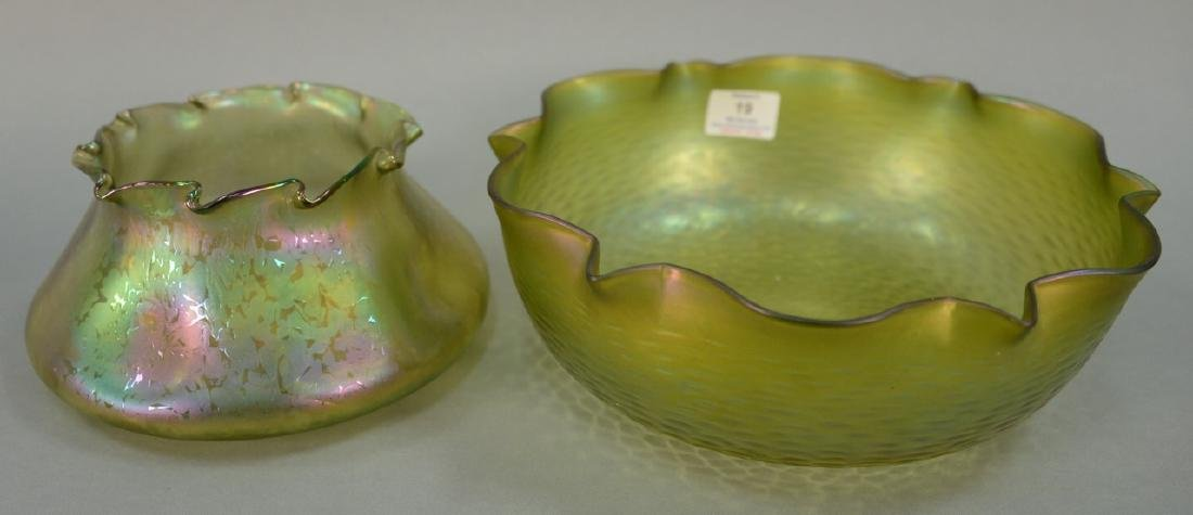 Two large art glass bowls with ruffled rims, Loetz or