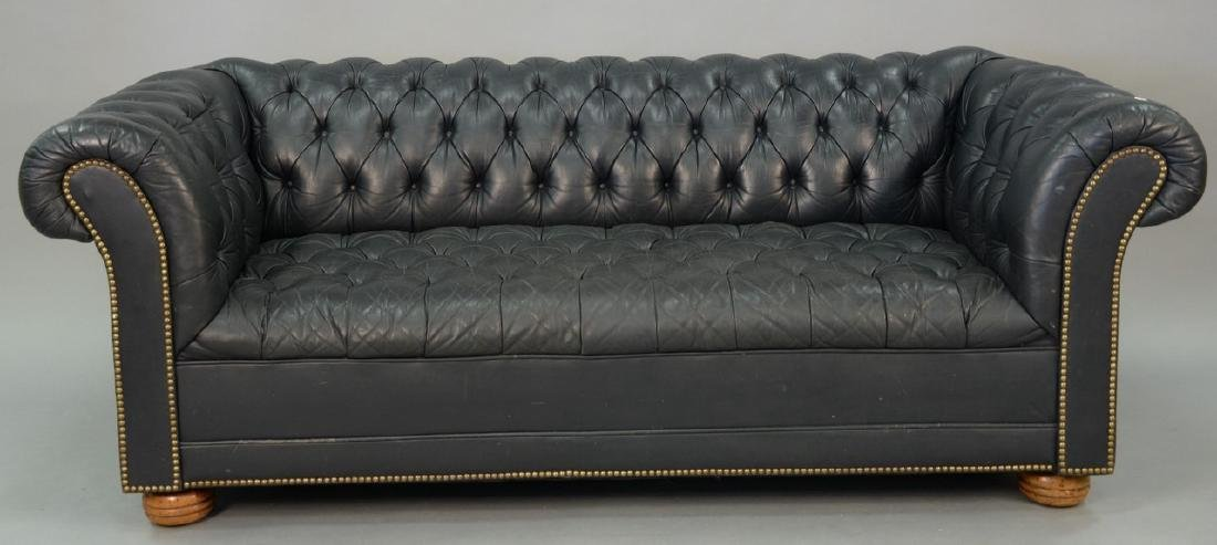 Leather tufted Chesterfield sofa, wd. 73in.