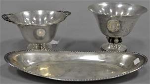 Three sterling silver pieces two Durham footed bowls