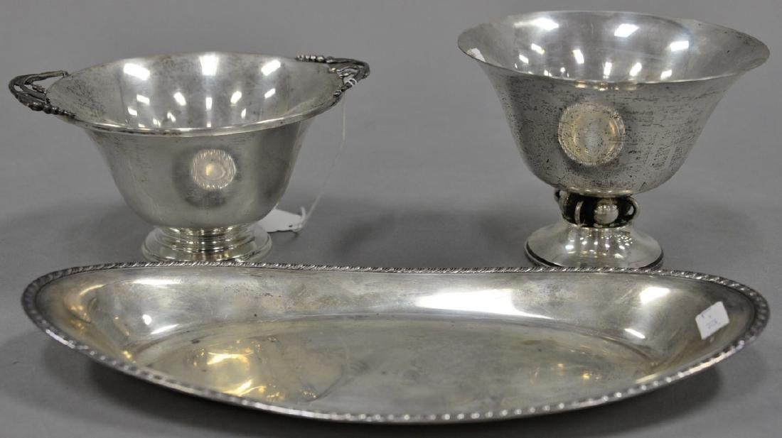 Three sterling silver pieces, two Durham footed bowls,