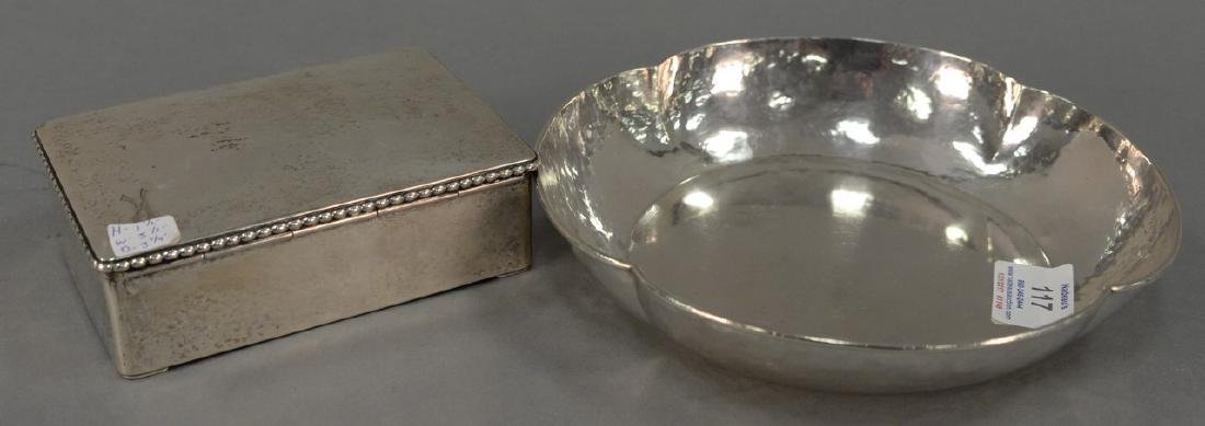 Two sterling silver hand hammered pieces including a