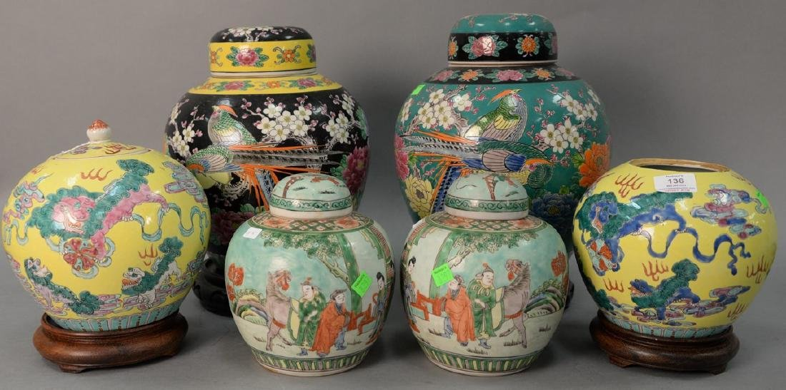 Six piece lot to include three pairs of Oriental