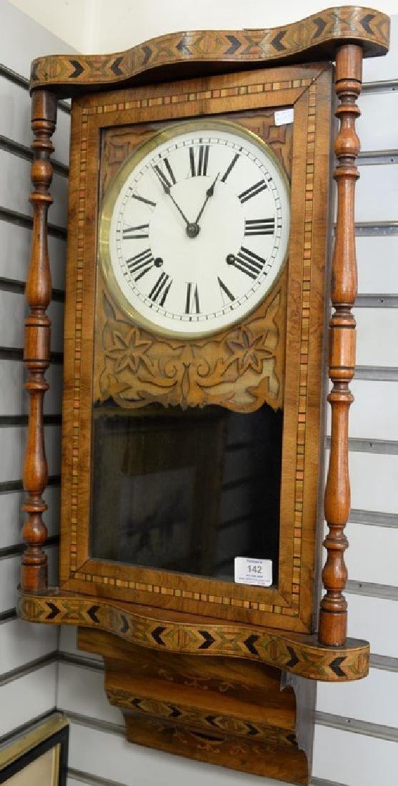 Inlaid regulator clock, ht. 30in., wd. 15in.
