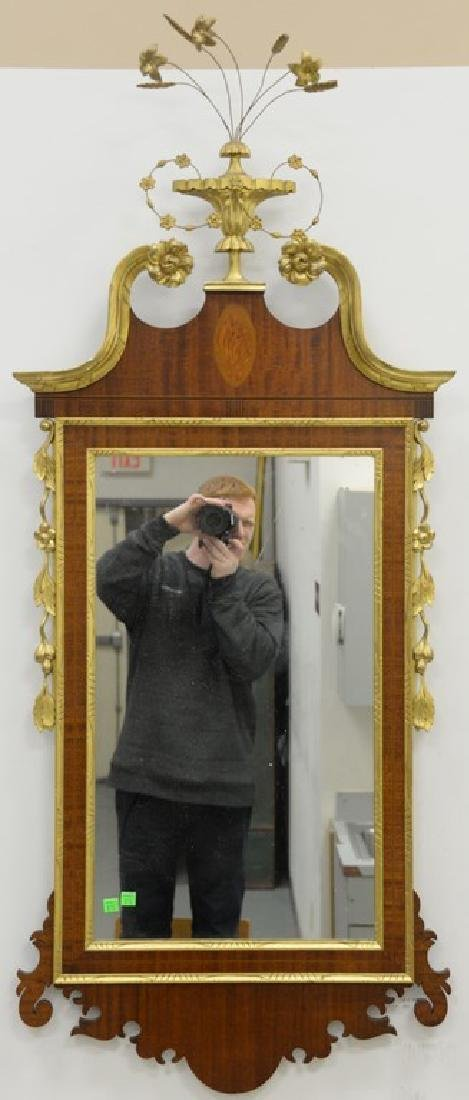 Margolis mahogany Federal style inlaid mirror with gilt