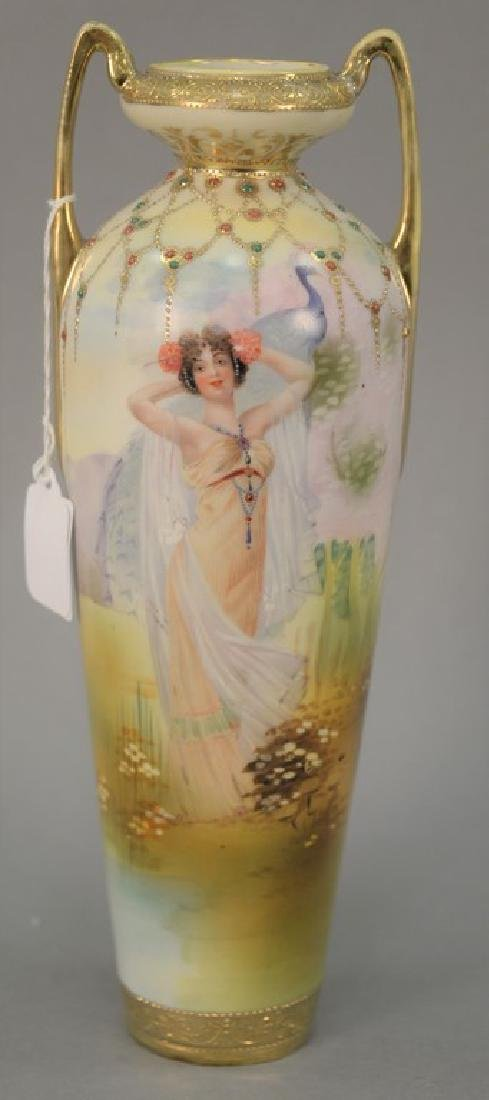Nippon scenic jeweled porcelain vase with hand painted
