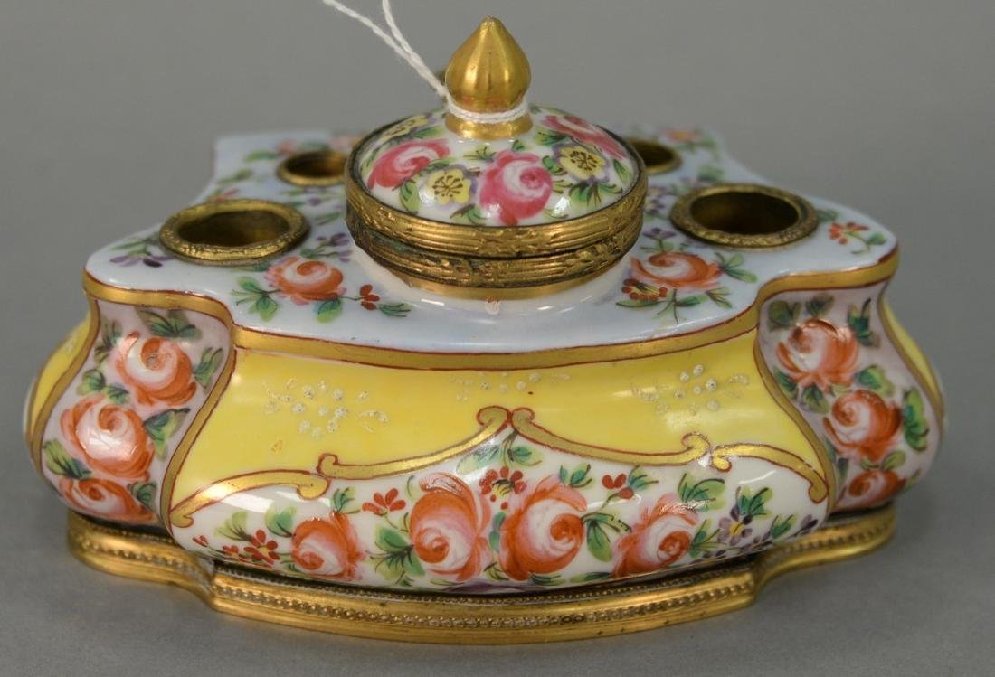 French porcelain bronze mounted inkwell, 19th century