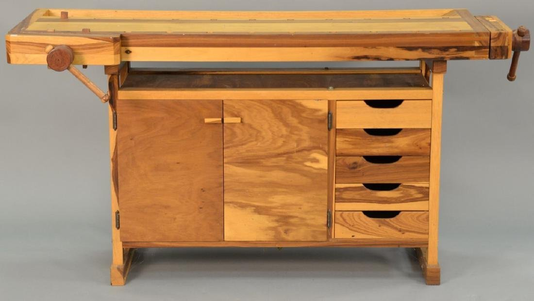 Two piece lot to include a custom woodworkers bench and