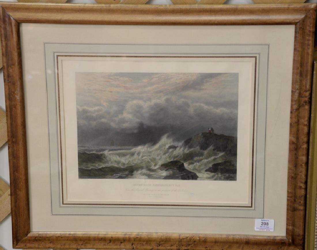 Pair of colored lithographs including Indian Rock,