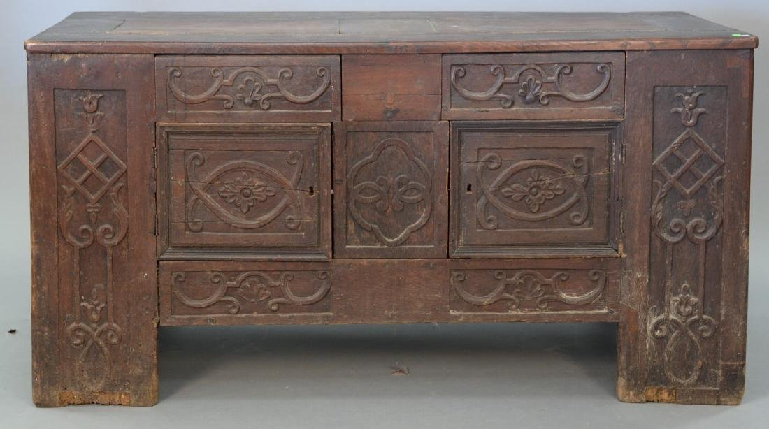 Early chest made up of old parts. ht. 31in., wd. 60in.,