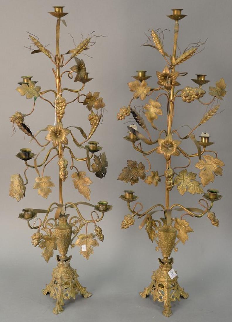 Pair of brass candelabra, ht. 36in.