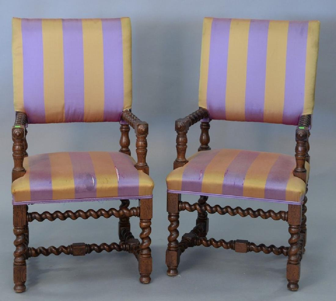 Pair of Jacobean style upholstered armchairs