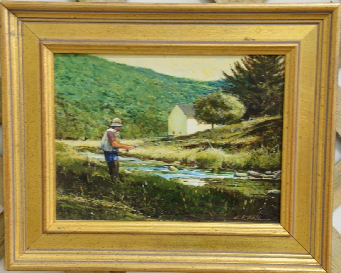"""Luther Kelly Hall """"Fly Fishing"""" oil on masonite, signed"""