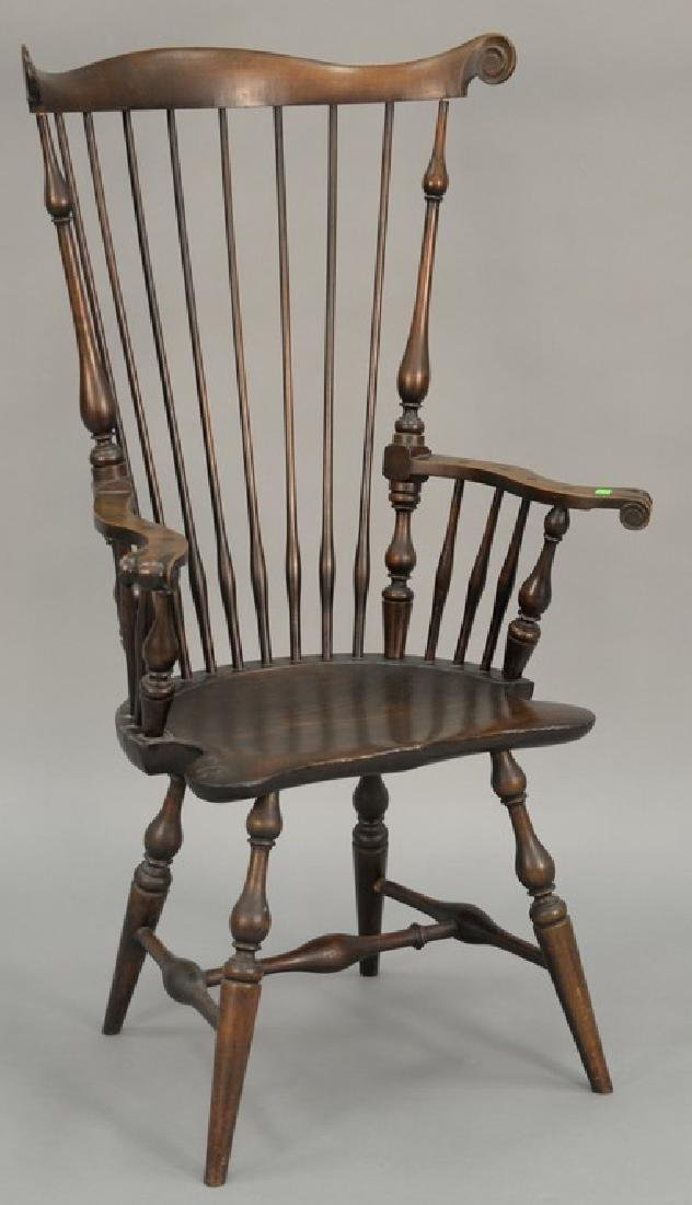 Wallace Nutting fan back knuckle armchair, marked with