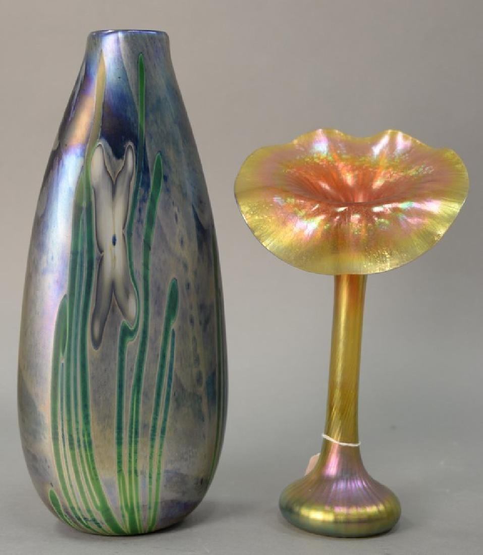 Two large studio art glass vases including iridescent