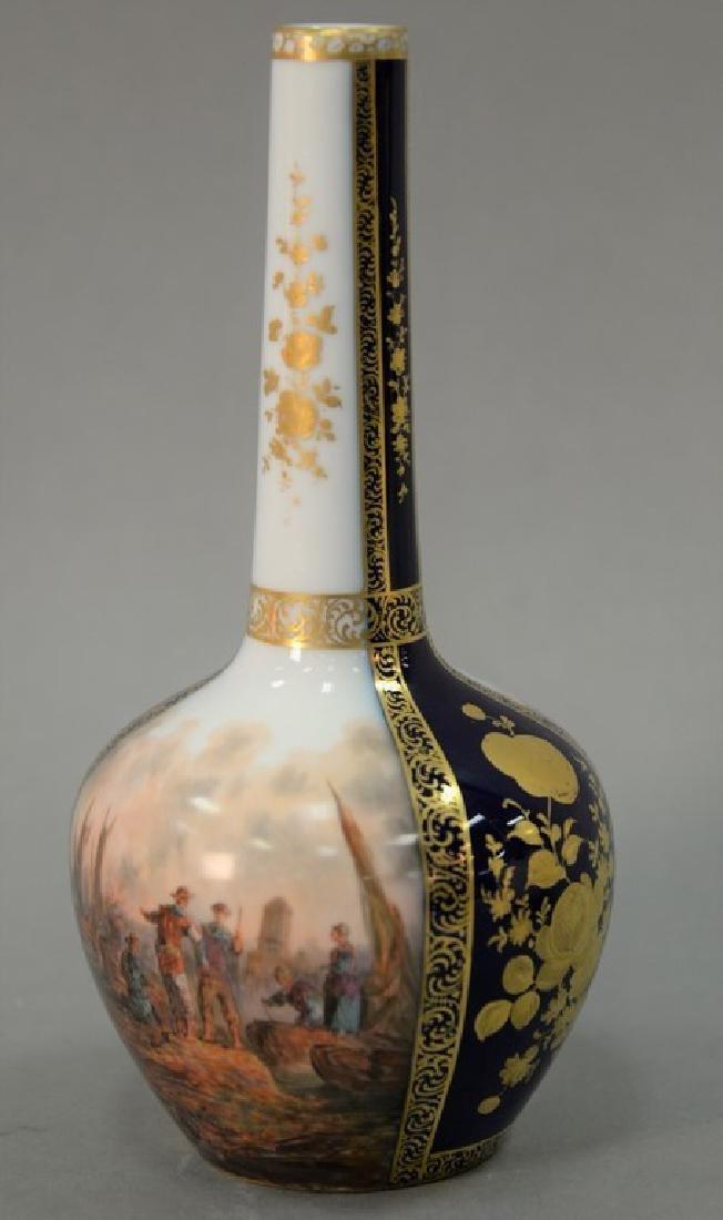 Dresden porcelain bottle shaped vase with painted ship