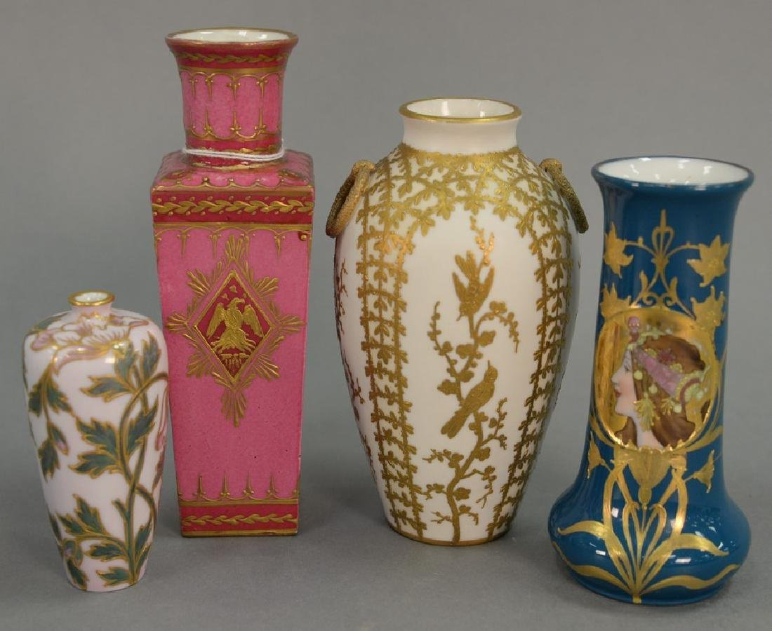 Four porcelain vases including French porcelain pink