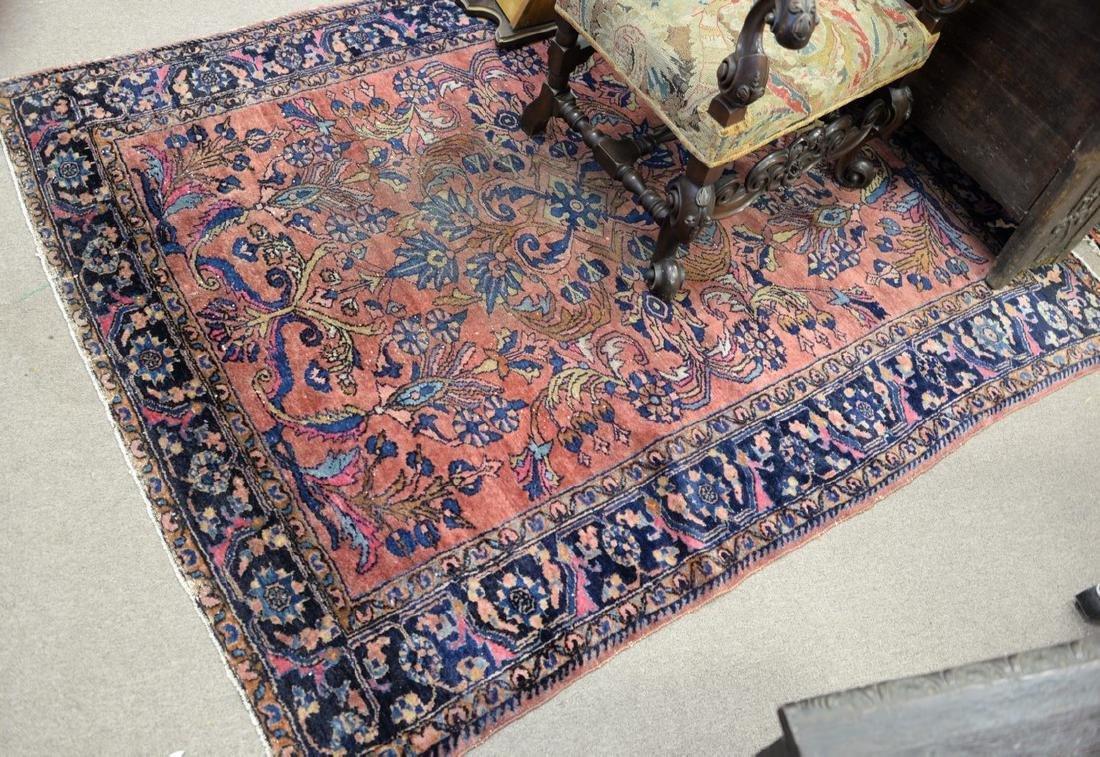 "Hamaden Oriental rug (wear), 5' x 6'3""."