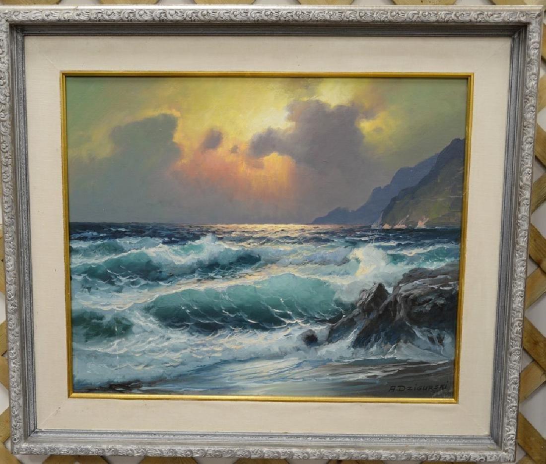 "Alexander Dzigurski 1911-1995 oil on canvas ""Rocky"