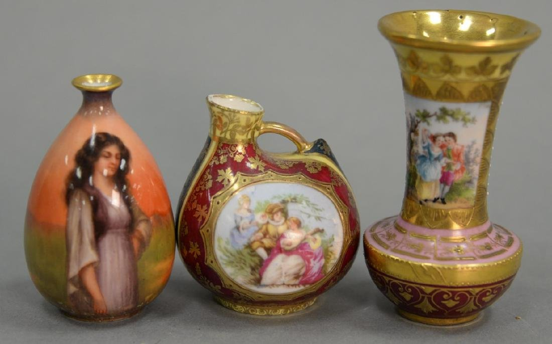 Three porcelain cabinet vases including Luscian ware