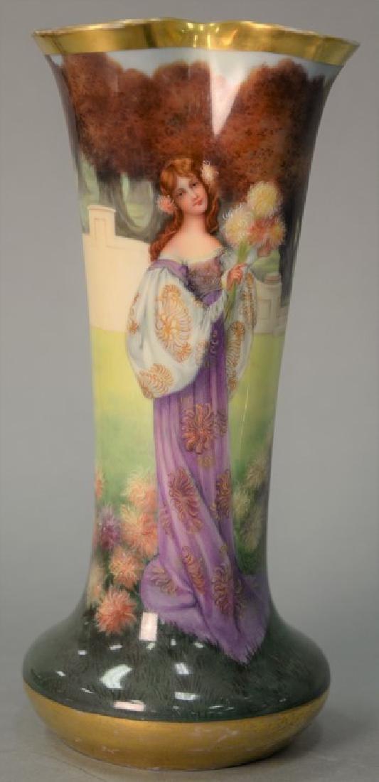 Dresden porcelain vase, hand painted portrait of a